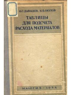 Таблицы для подсчета расхода материалов.