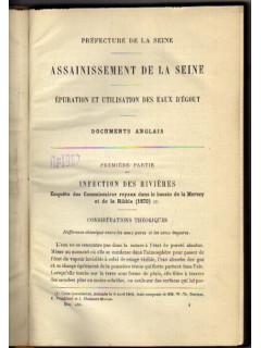Assainissement de la Seine : Epuration et utilisation des eaux d egout. Ассенизация Сены: очистка и использование сточных вод